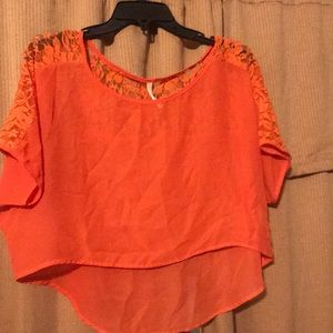 Orange crop top with lace. Worn once